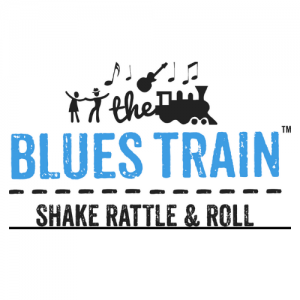 """Logo reading """"The Blues Train"""" """"Shake rattle and roll"""""""
