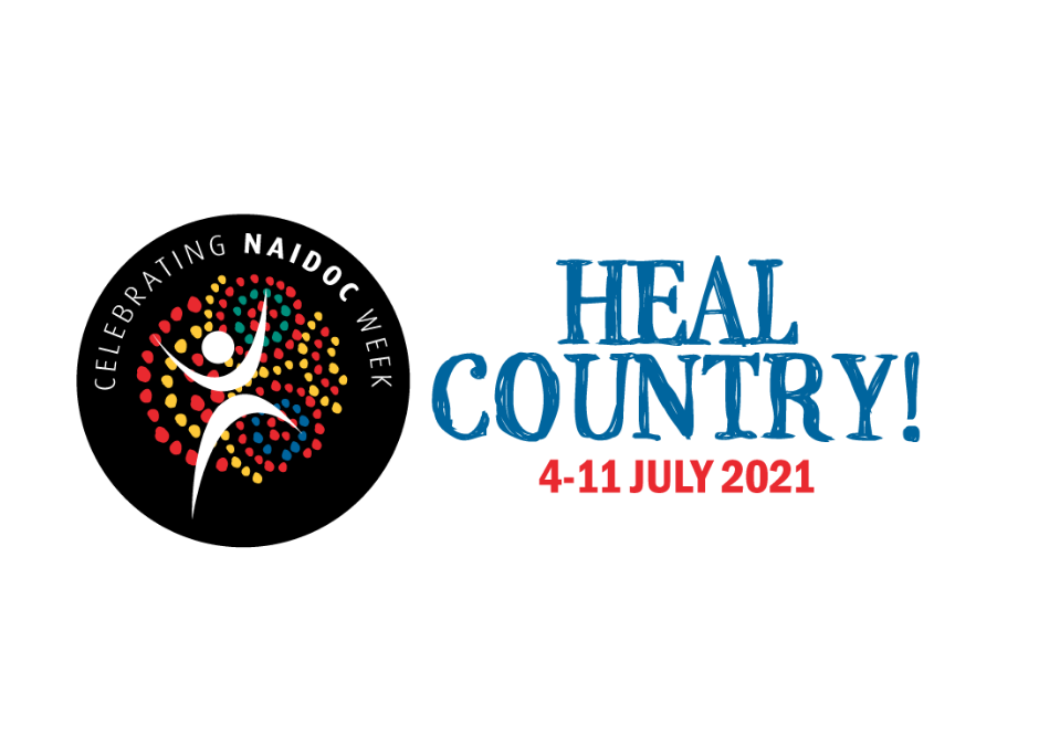 """NAIDOC logo with blue text reading """"Heal Country""""4-11 July 2021"""